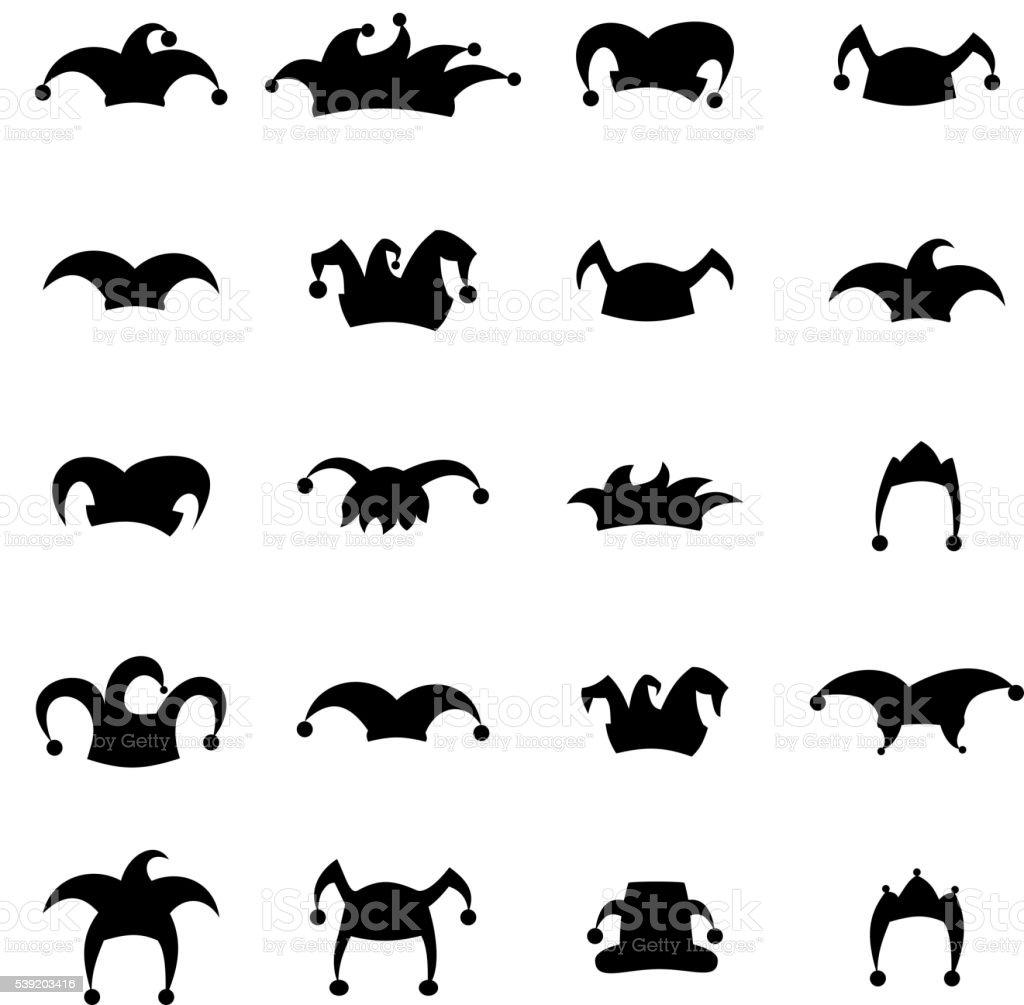 Set caps jester silhouette vector art illustration