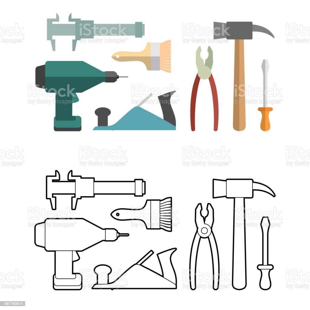 Set carpentry tools coloring book. Screwdriver and drill. Hammer vector art illustration