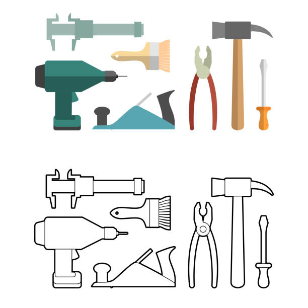 set carpentry tools coloring book screwdriver and drill hammer vector art illustration