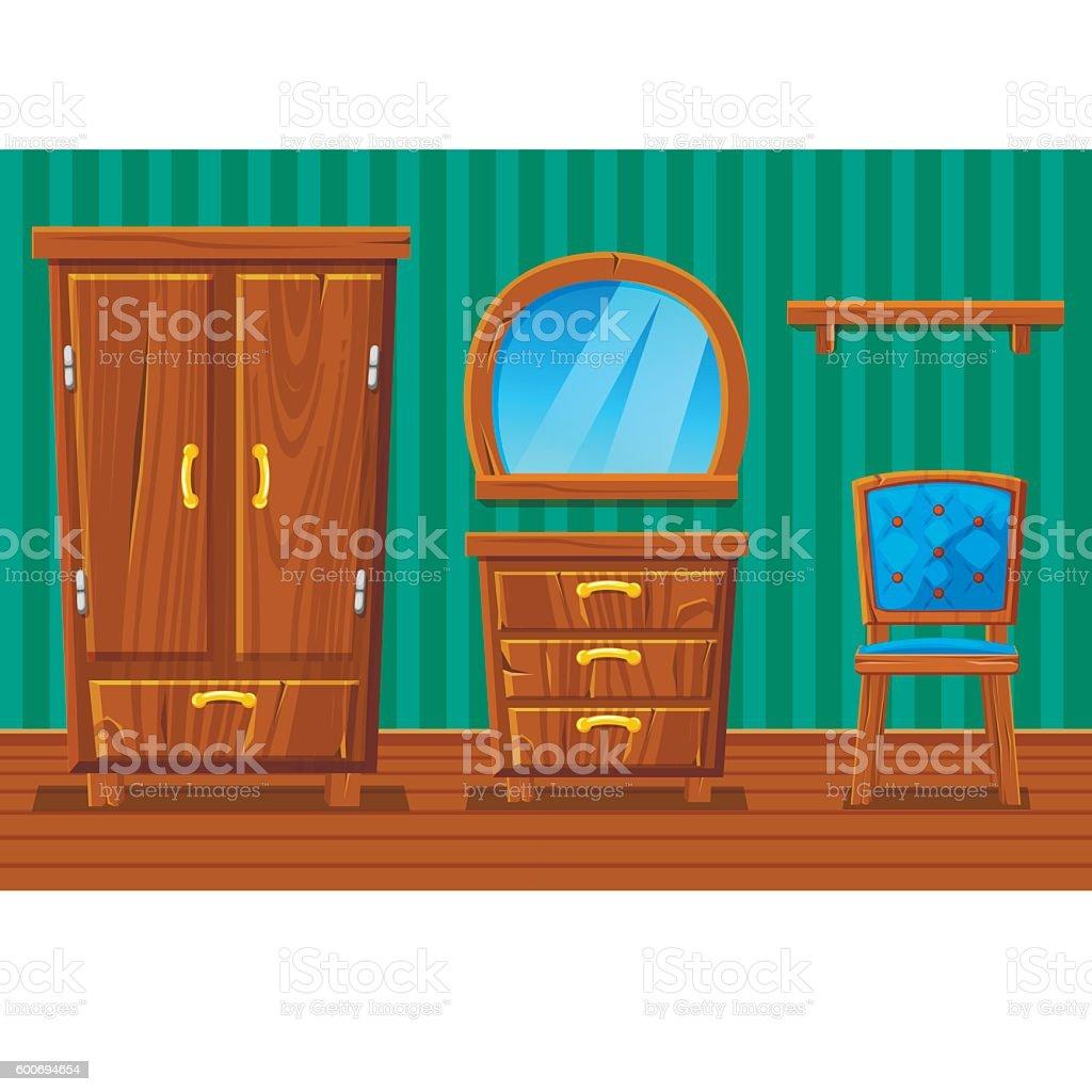 Set Cartoon Funny Wooden Furniture Living Room stock vector art ...