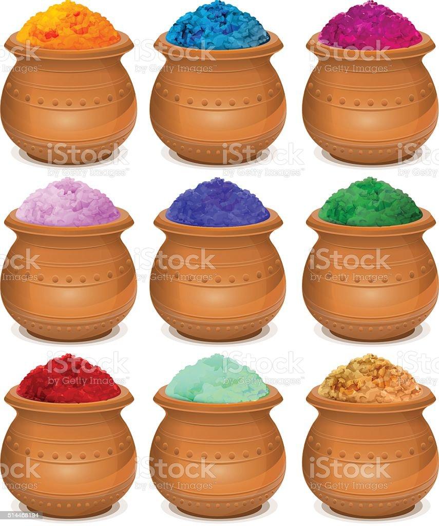 Set ceramic pot of paint holi. Festival of colors Holi vector art illustration