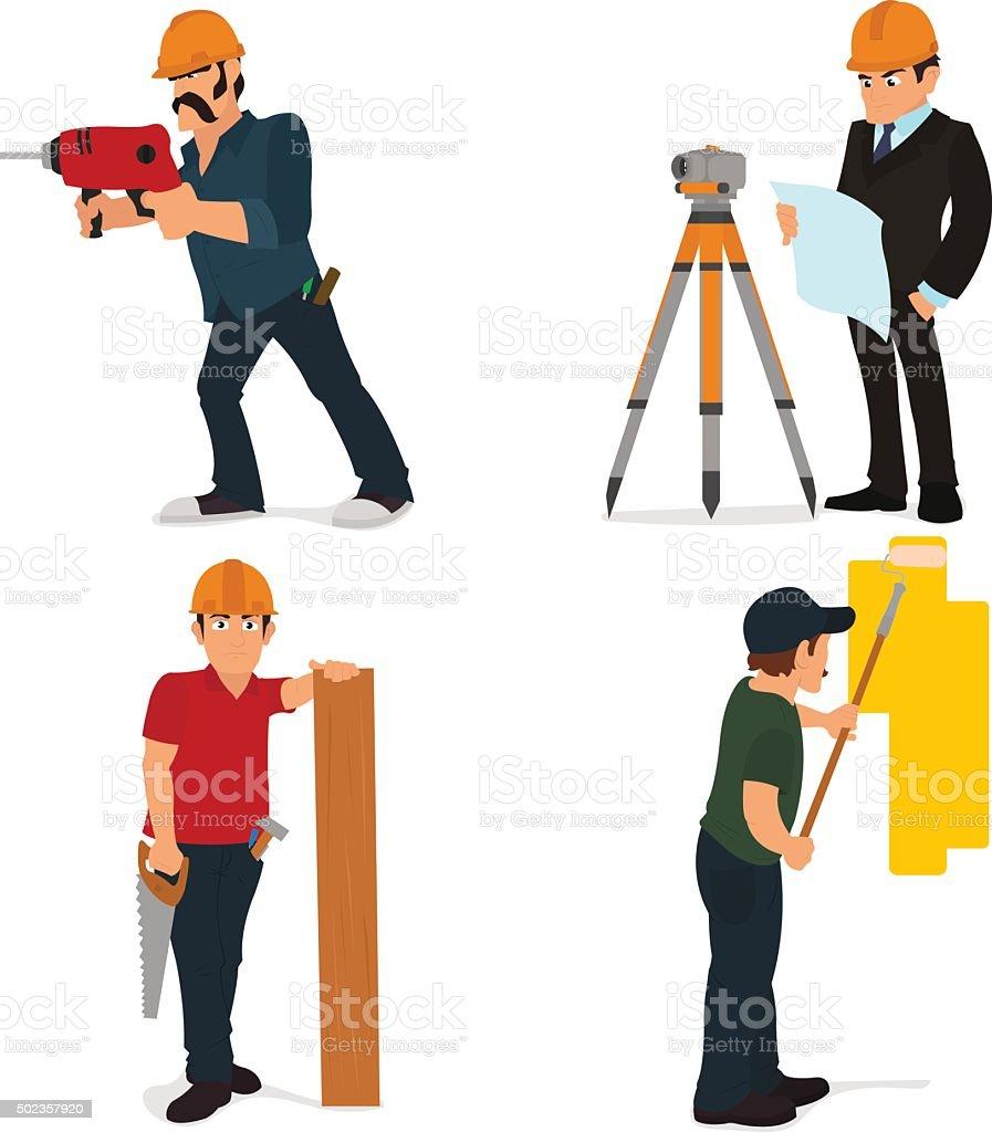 Set character builder and repairman vector art illustration
