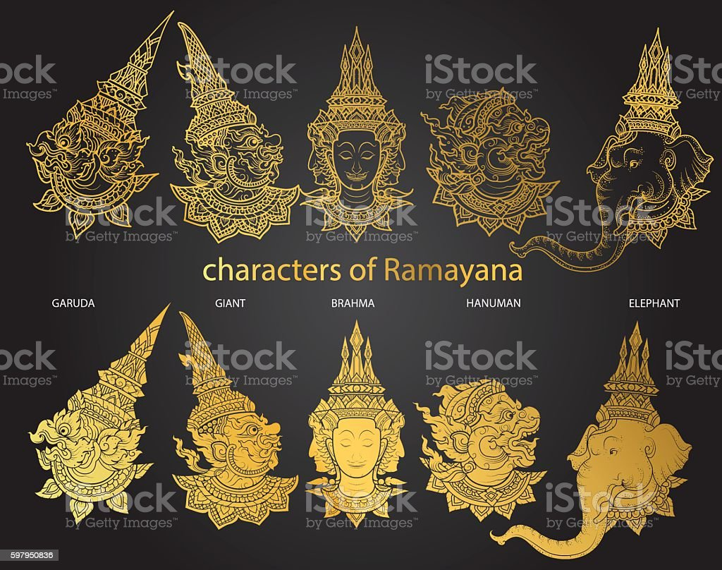 set characters of Ramayana vector vector art illustration