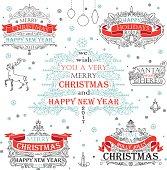 Set Christmas banner and frame