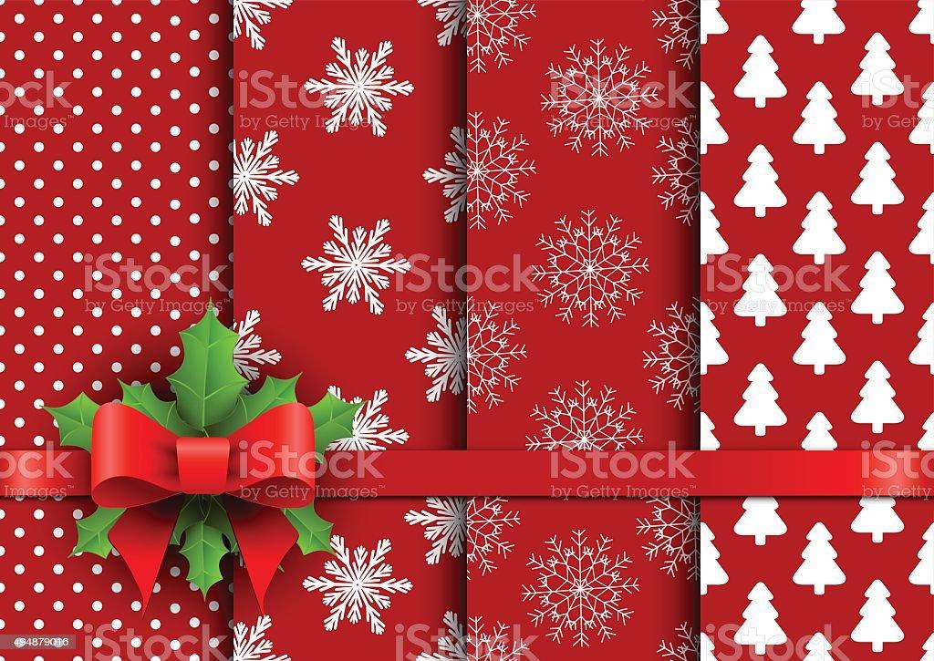 Set christmas red seamless vector backgrounds vector art illustration