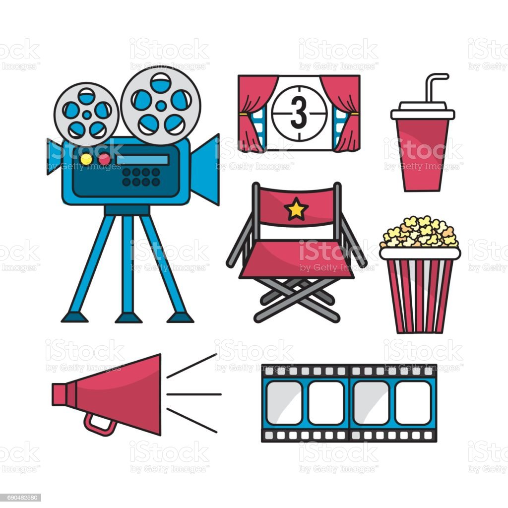 set cinematography scene to entertainment vector art illustration