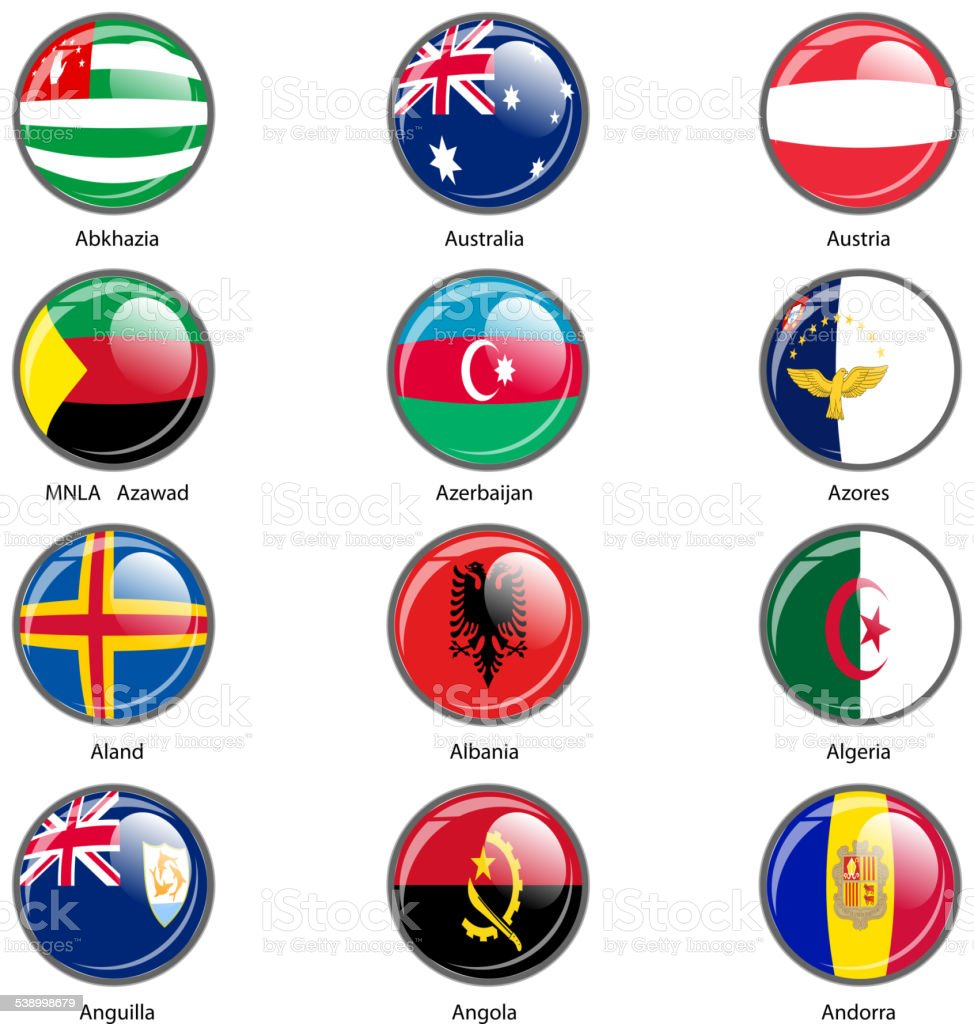 Set circle icon  Flags of world sovereign states. vector art illustration
