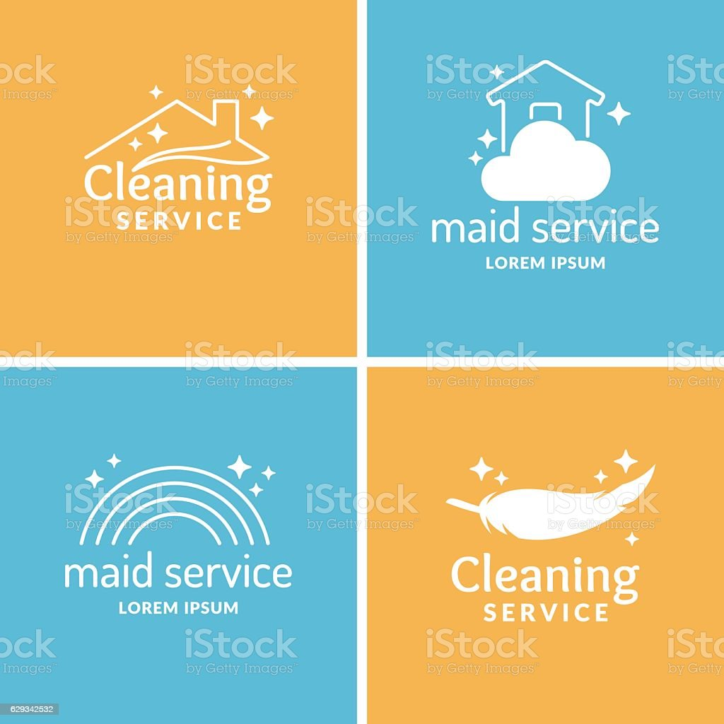 Set Cleaning and maid service. Label collection. vector art illustration