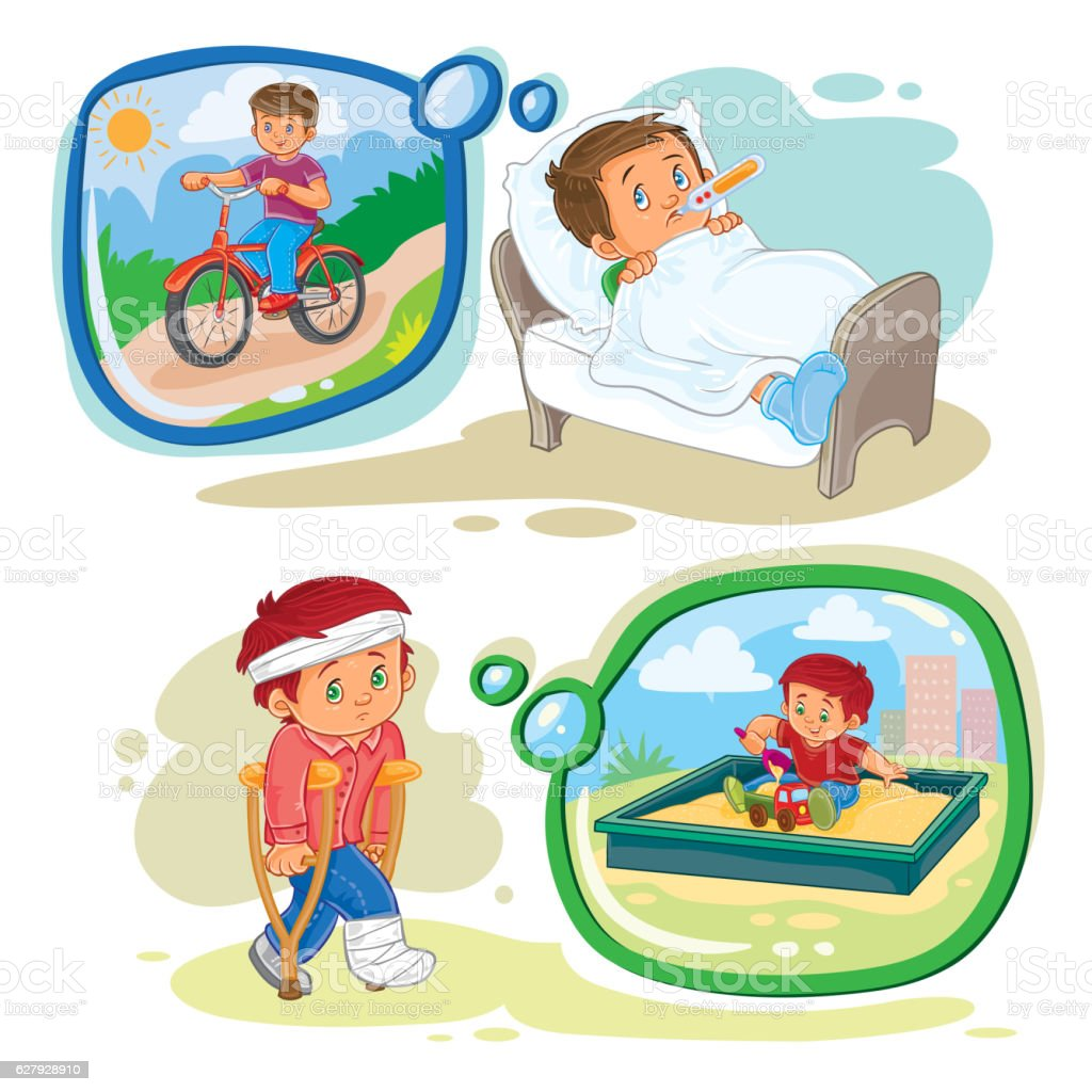Set clip art illustrations little boy sick vector art illustration