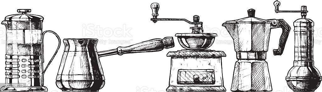 Set coffee making equipment vector art illustration