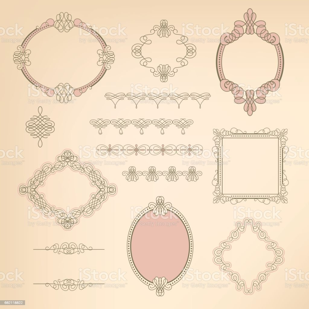 Set collection of calligraphic elements, frames, signs vector art illustration