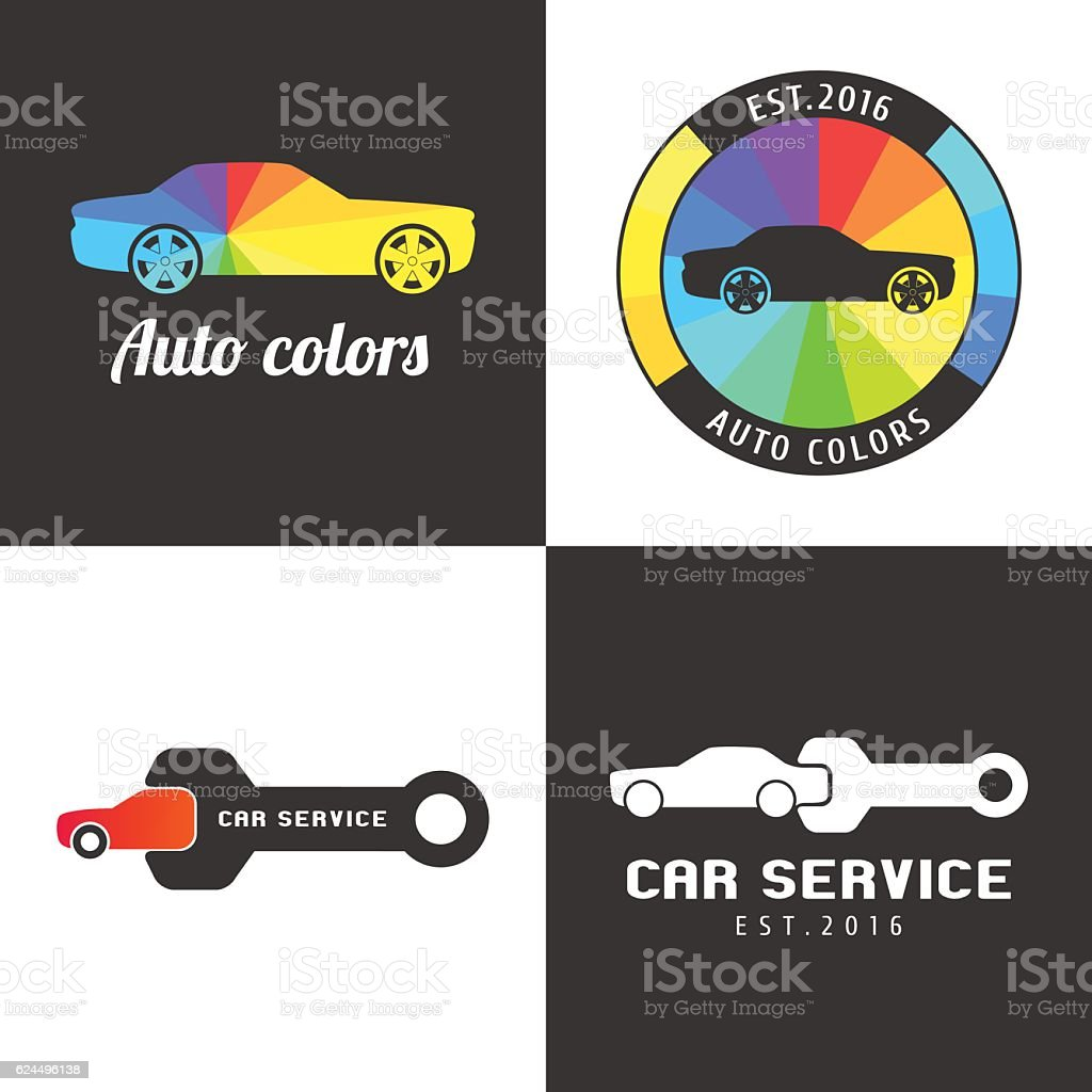 Set, collection of car paint, car parts vector icon, symbol vector art illustration