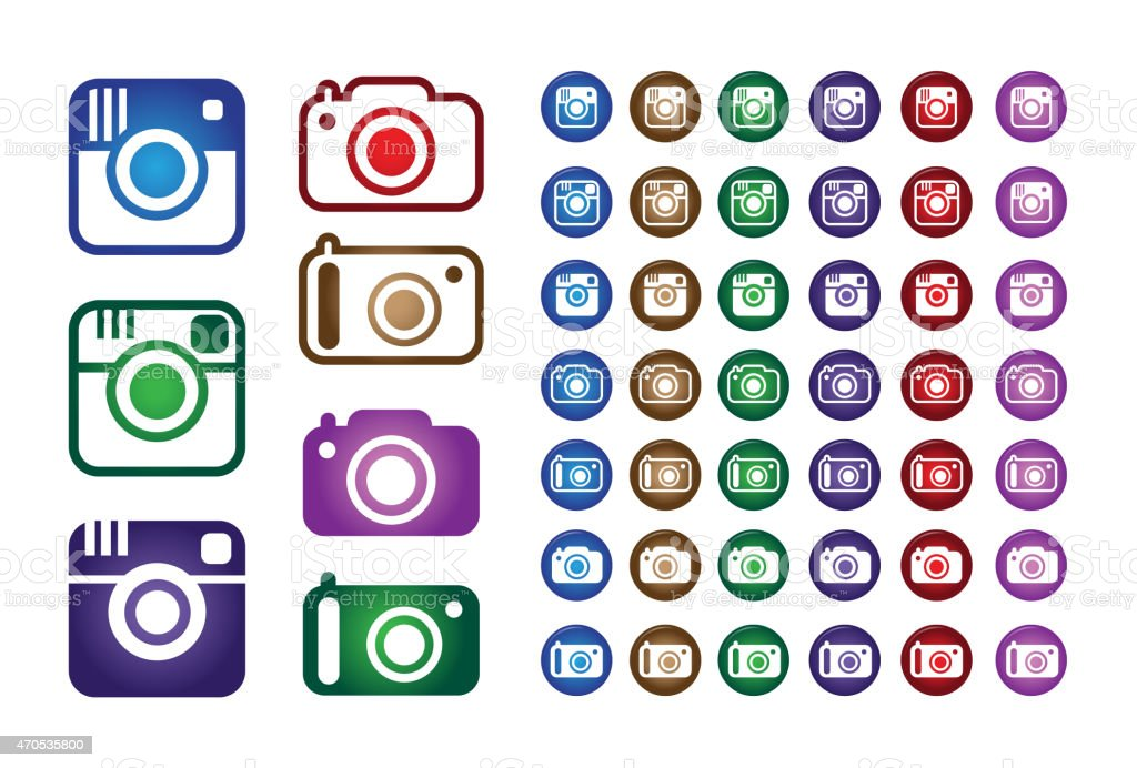 Set Collection of Colorful Hipster Trend Camera Icons vector art illustration
