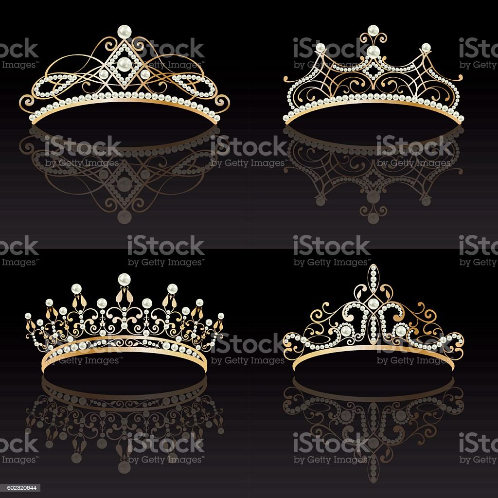 set collection of four golden with pearls feminine tiaras vector art illustration