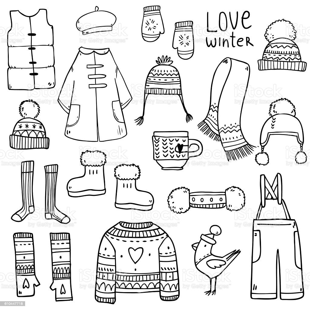 Set collection with winter elements vector art illustration