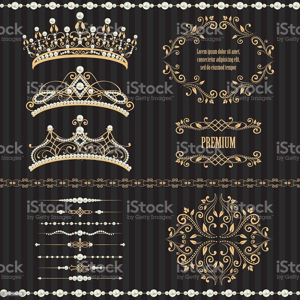Set collections of royal design elements vector art illustration