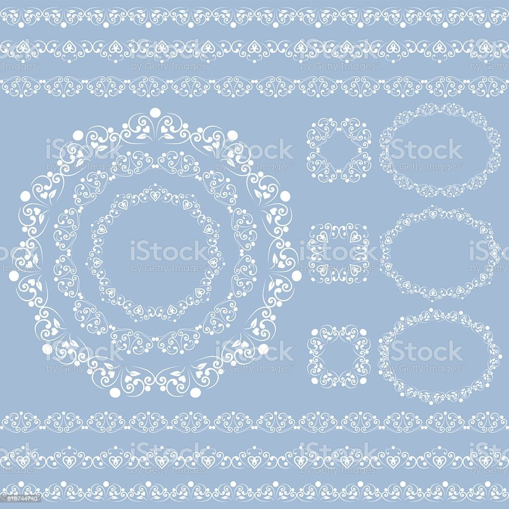 Set collections of vintage lacy borders and frames vector art illustration