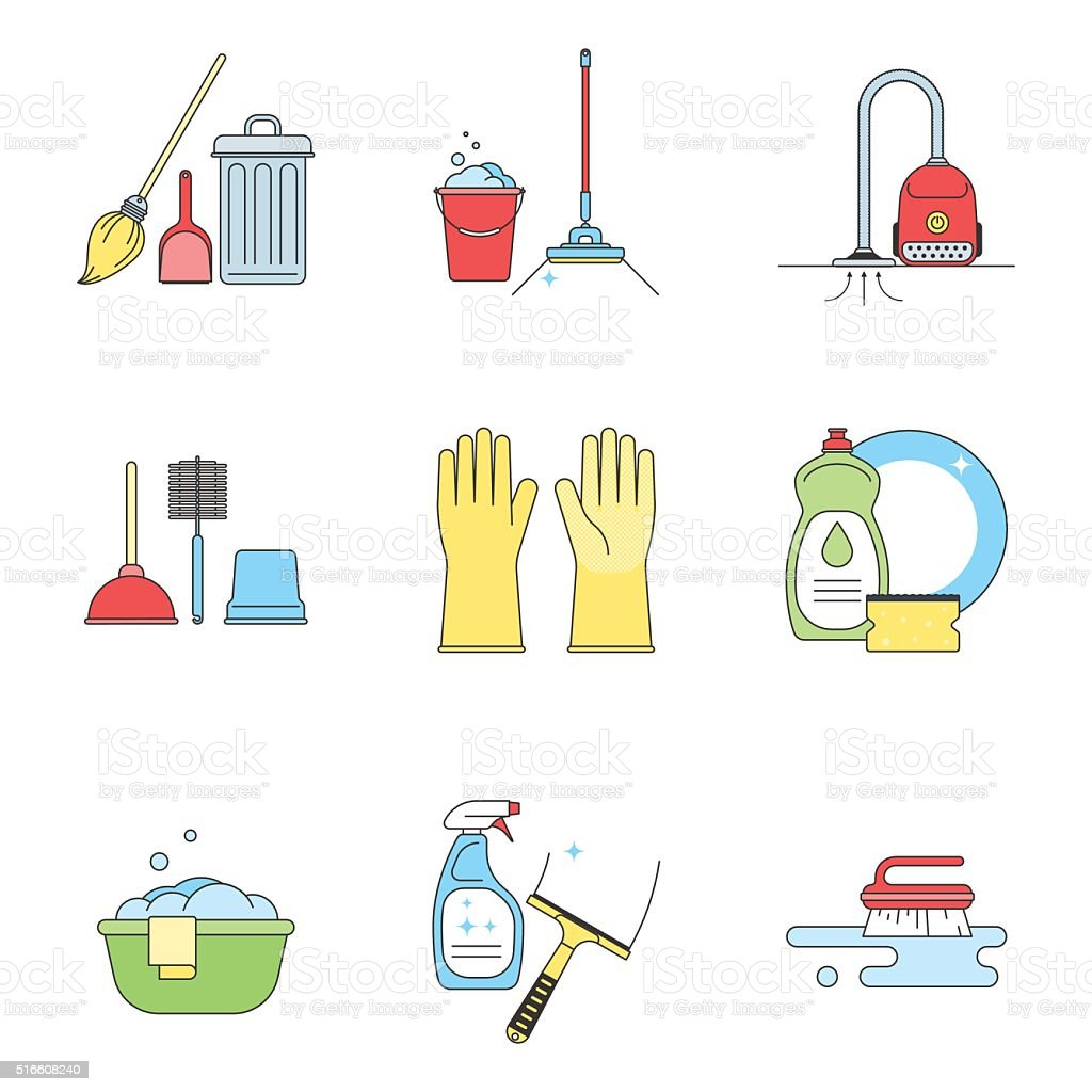 Set color icon of cleaning tool isolated on white vector art illustration