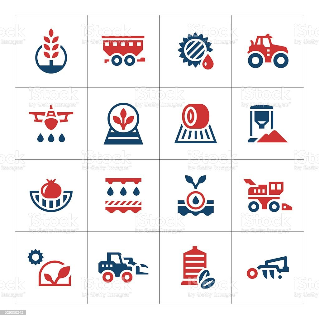 Set color icons of agriculture vector art illustration
