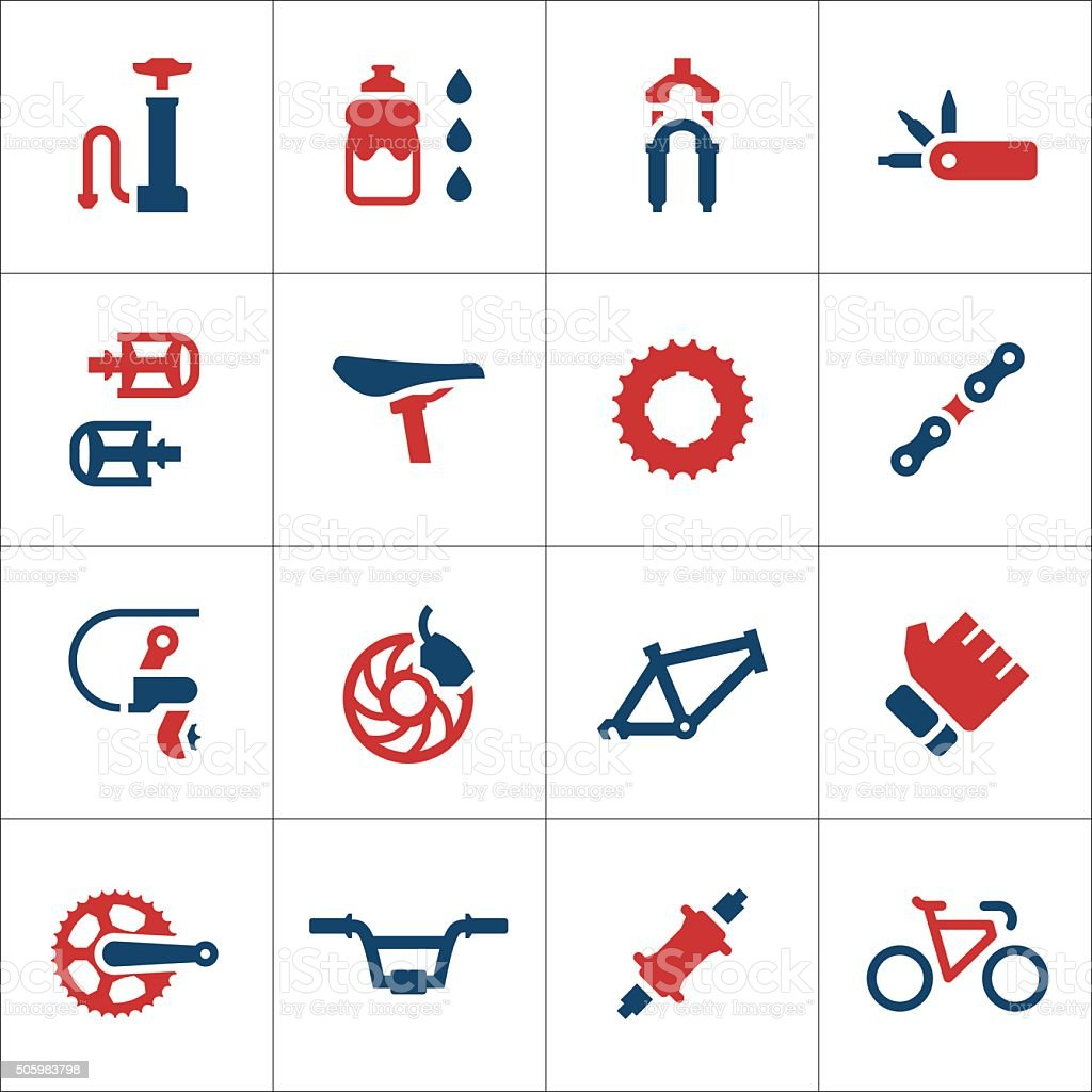 Set color icons of bicycle parts and accessories vector art illustration