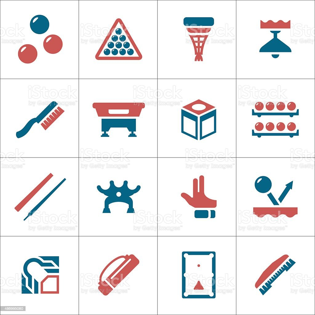 Set color icons of billiards, snooker and pool vector art illustration