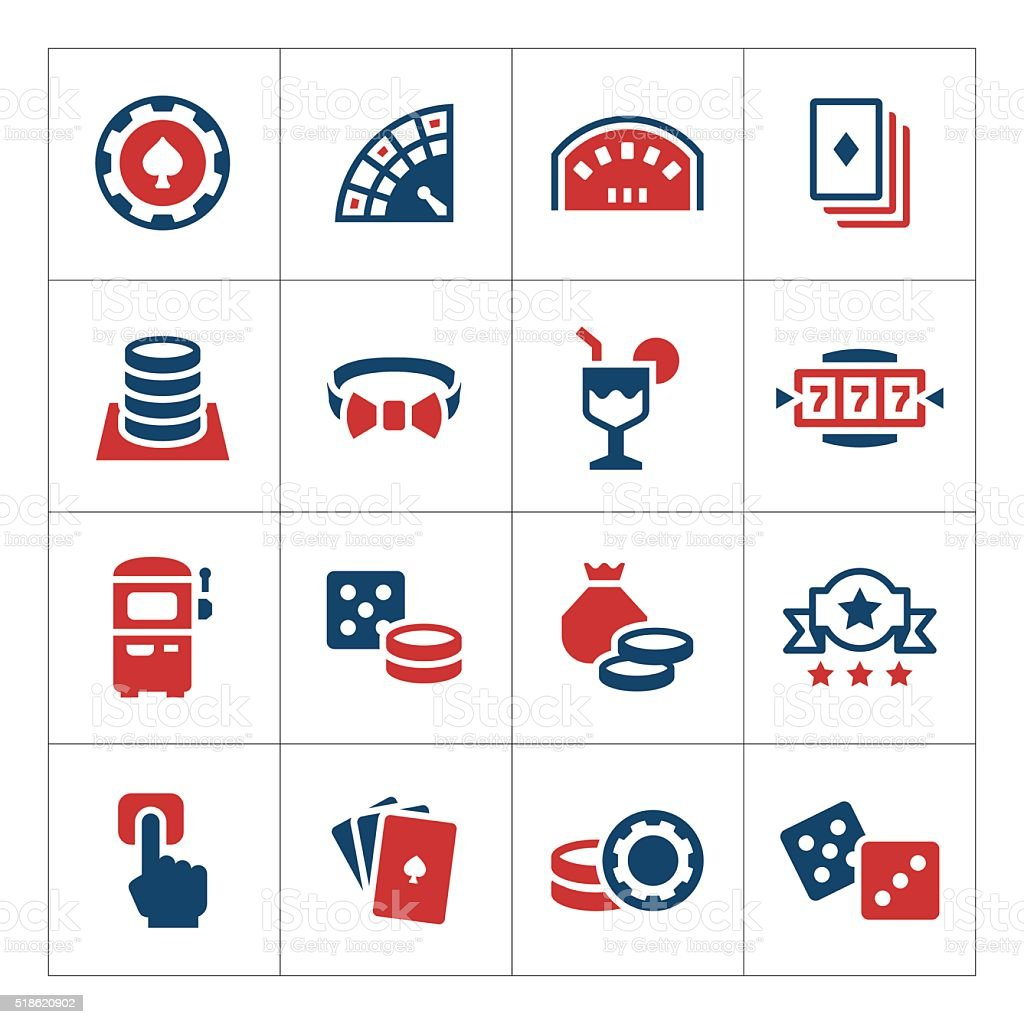 Set color icons of casino vector art illustration