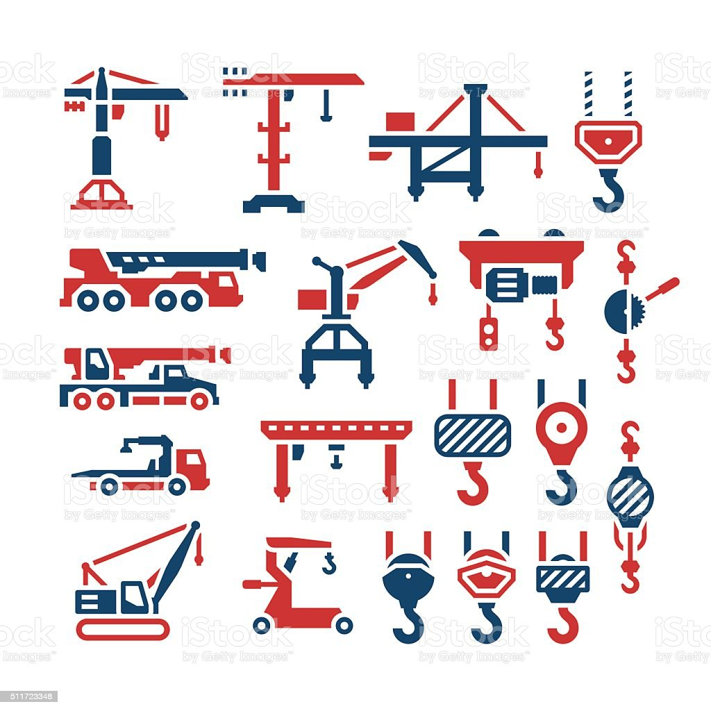 Set color icons of crane, lifts, winches and hooks vector art illustration