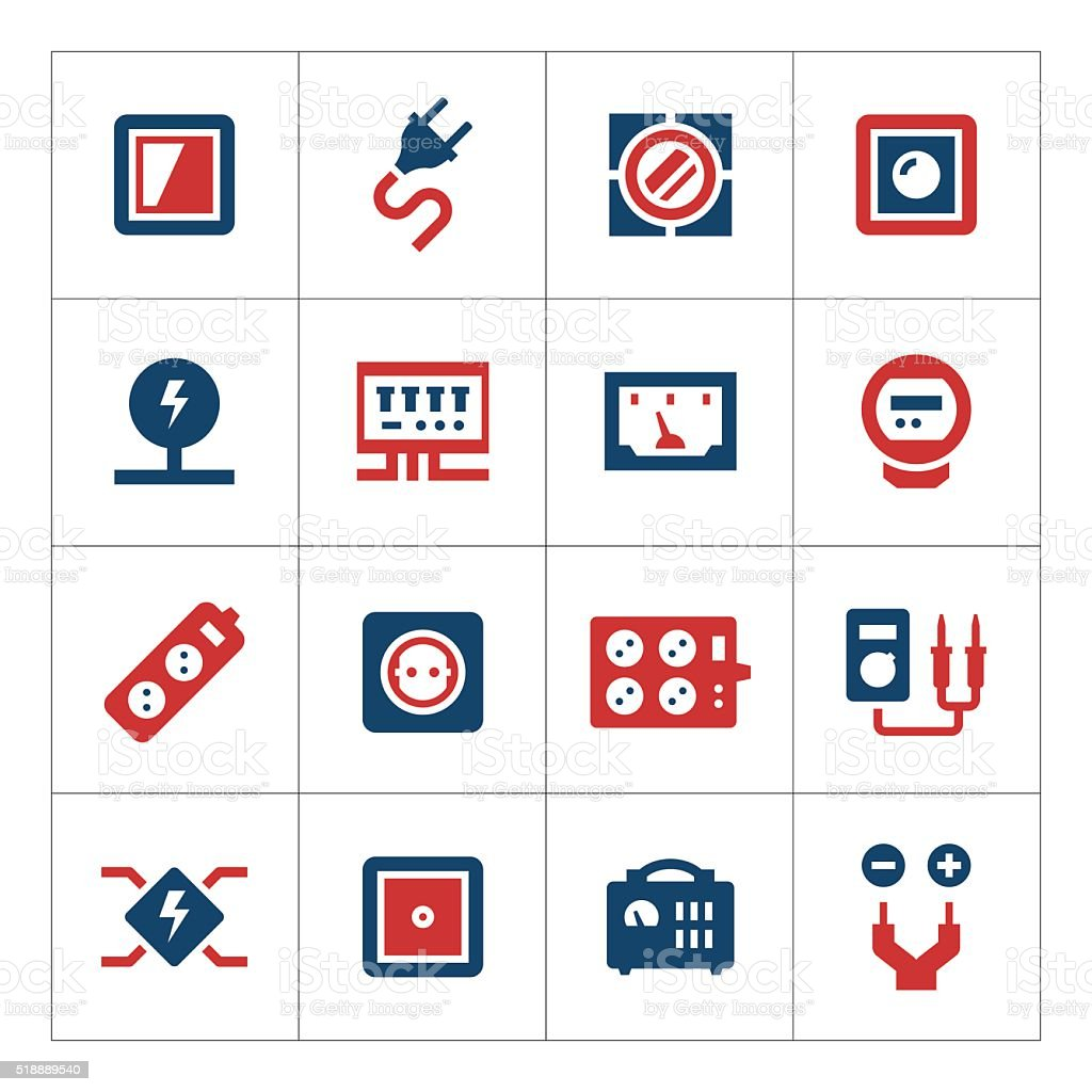 Set color icons of electricity vector art illustration