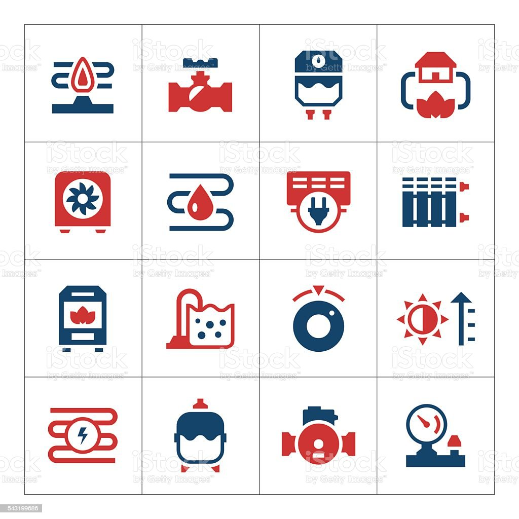 Set color icons of heating vector art illustration