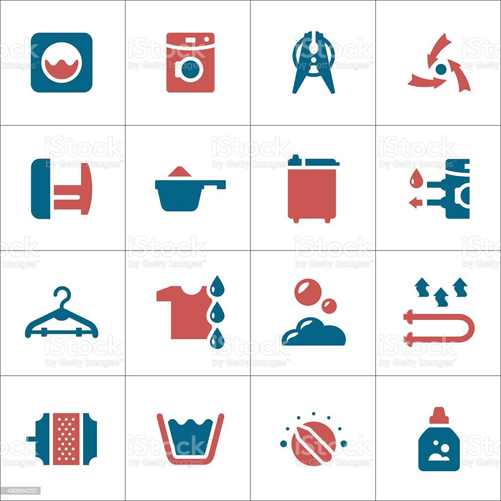 Set color icons of laundry vector art illustration