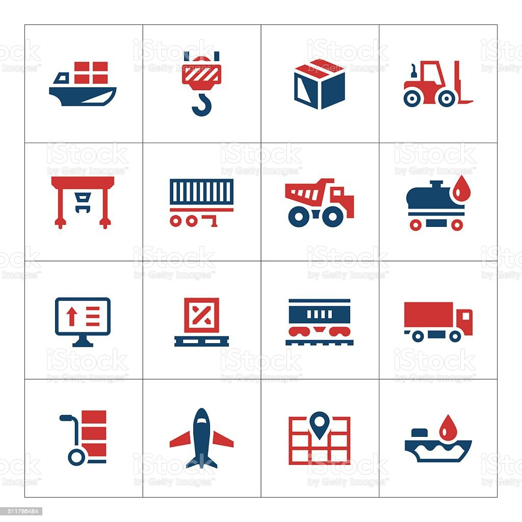 Set color icons of logistic vector art illustration
