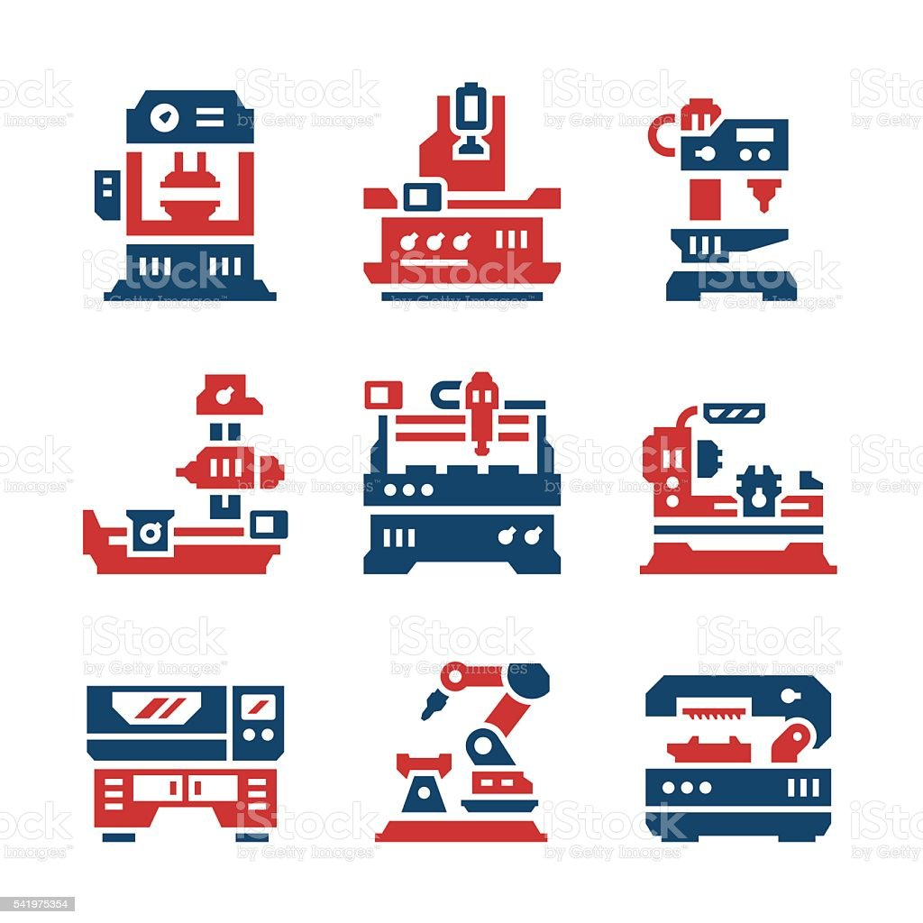 Set color icons of machine tool vector art illustration