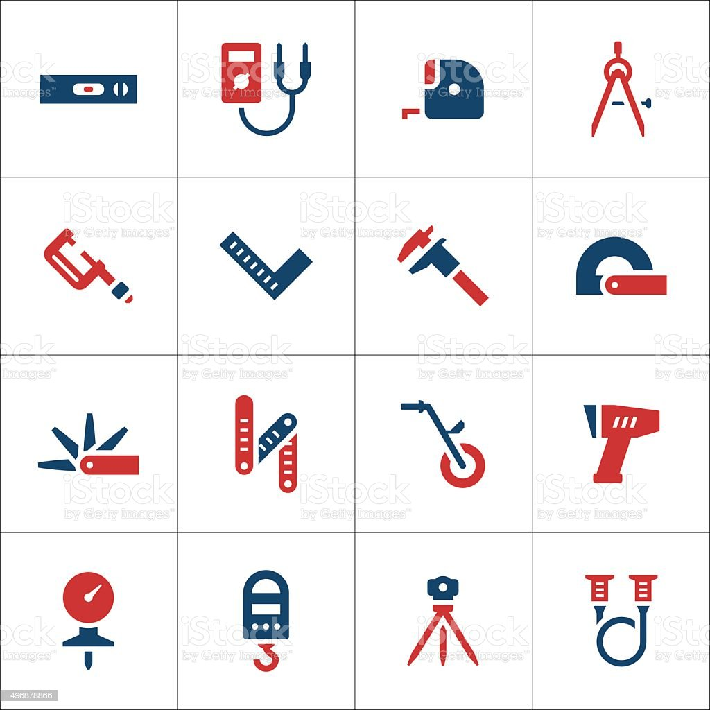 Set color icons of measuring tools vector art illustration