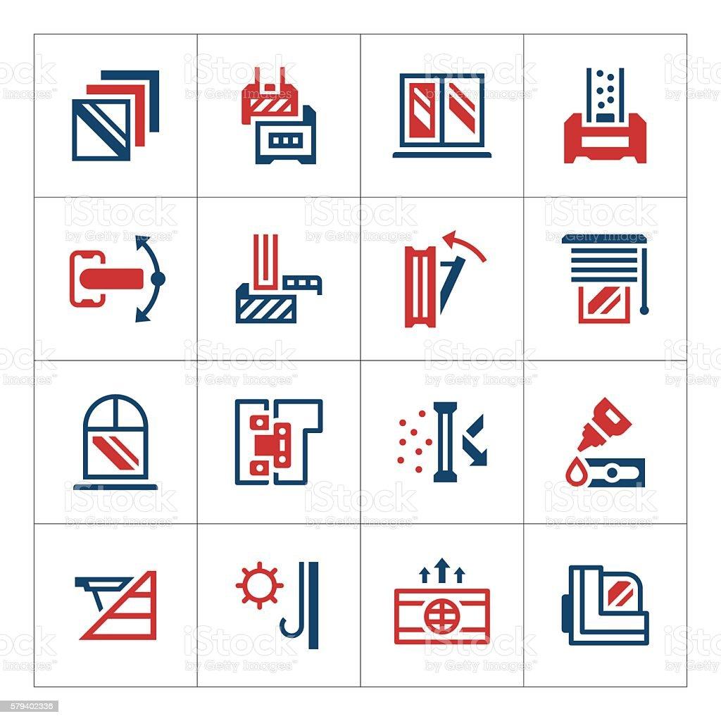 Set color icons of modern window vector art illustration