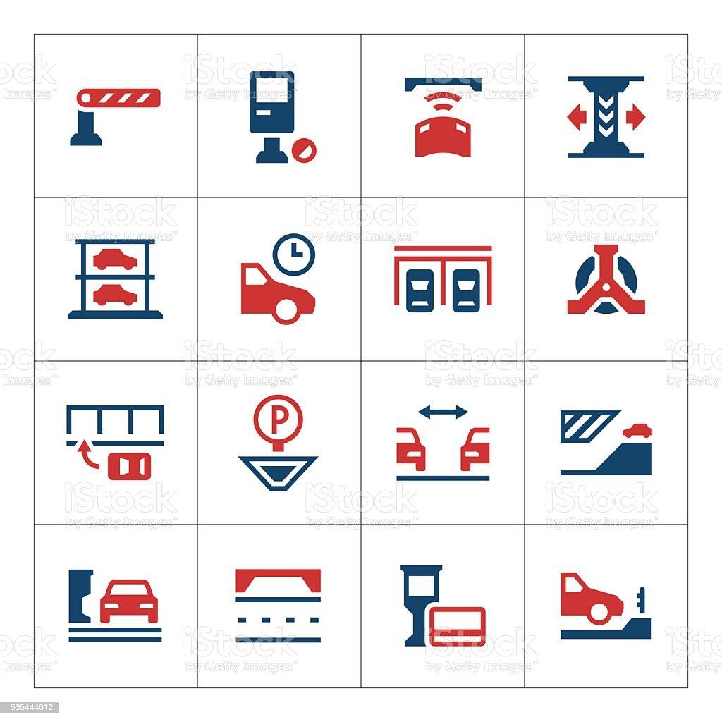 Set color icons of parking vector art illustration