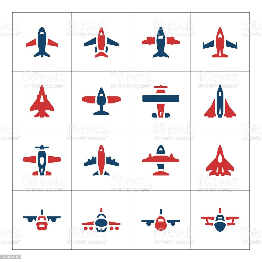Set color icons of planes vector art illustration