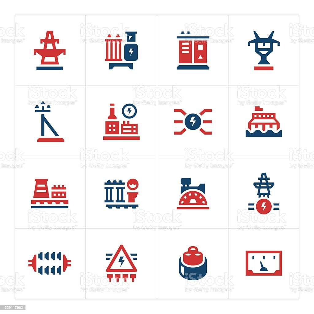 Set color icons of power industry vector art illustration
