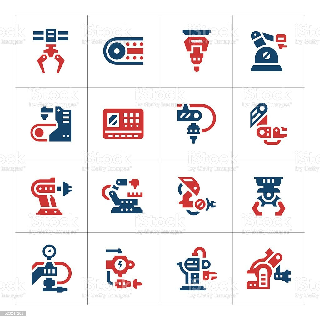 Set color icons of robotic industry vector art illustration
