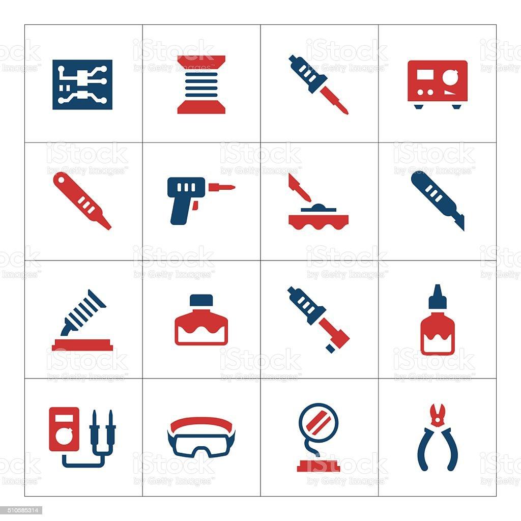 Set color icons of soldering vector art illustration