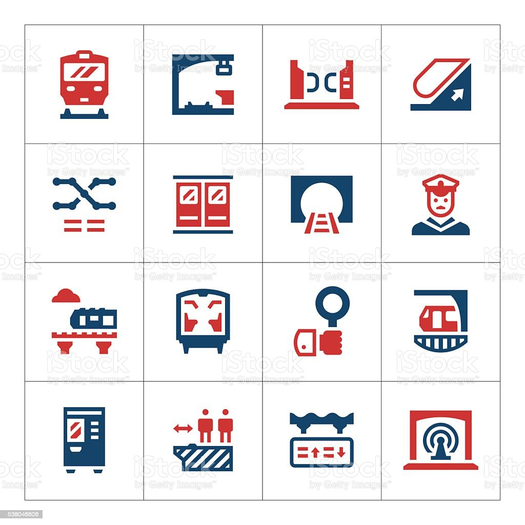 Set color icons of subway vector art illustration