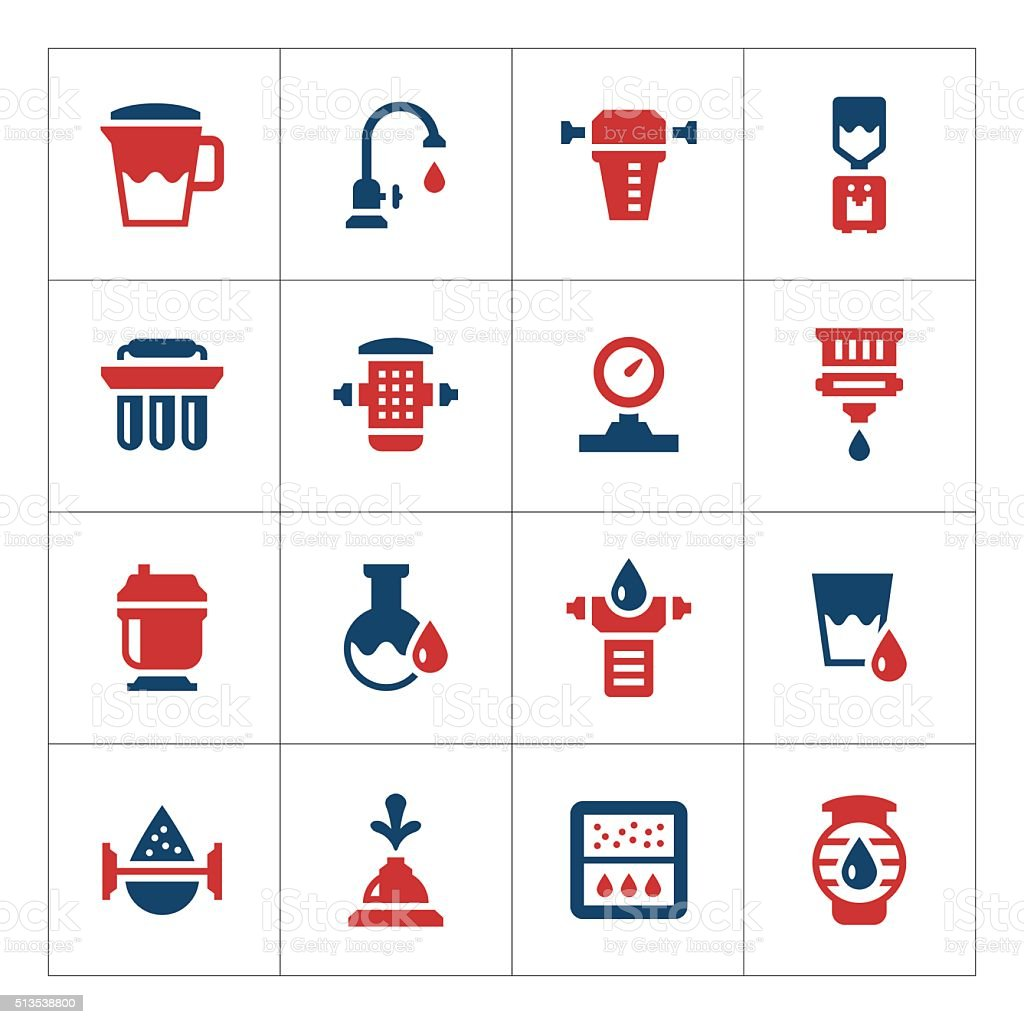 Set color icons of water filters vector art illustration
