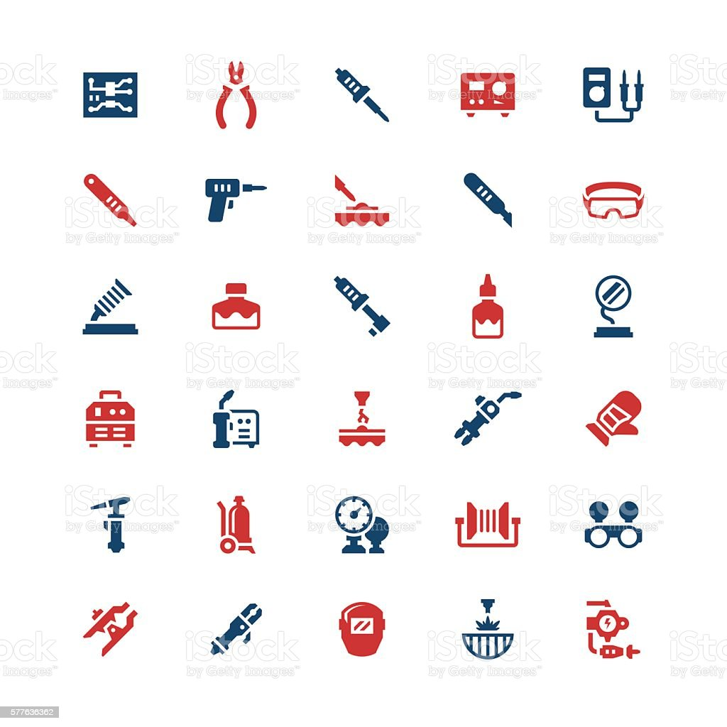 Set color icons of welding and soldering vector art illustration