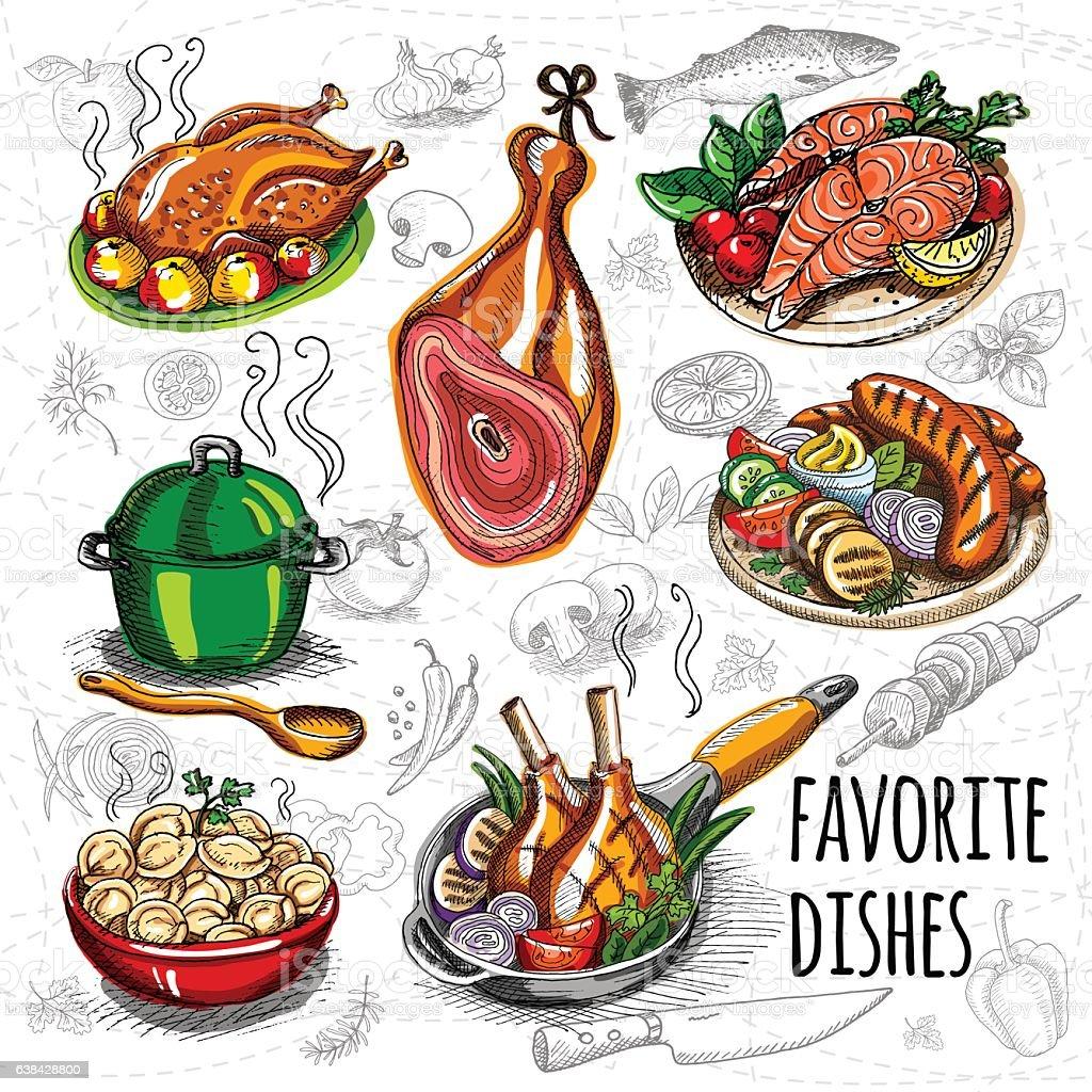 Set color sketch meat, fish, side dishes. vector art illustration