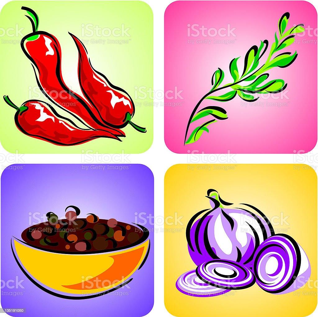 set color spices vector art illustration