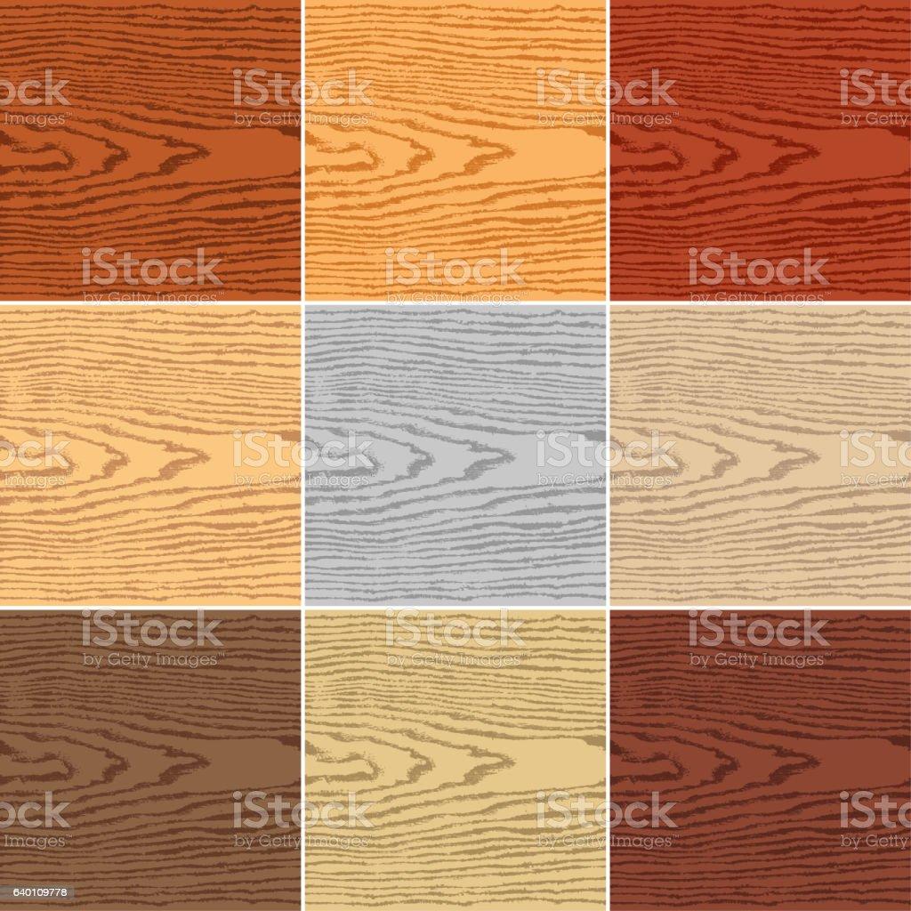 Set color wood texture vector art illustration