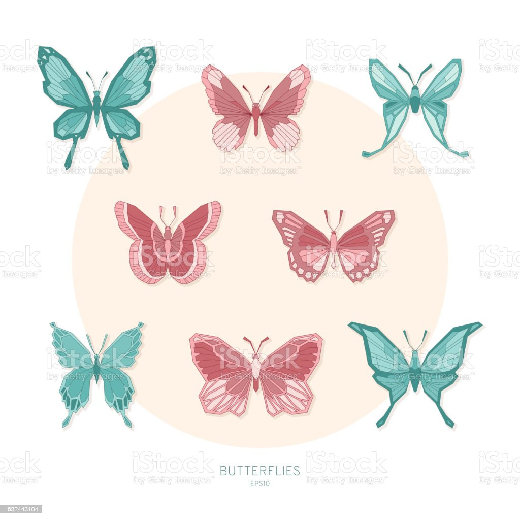 set colored butterflies geometric shapes vector illustration stock