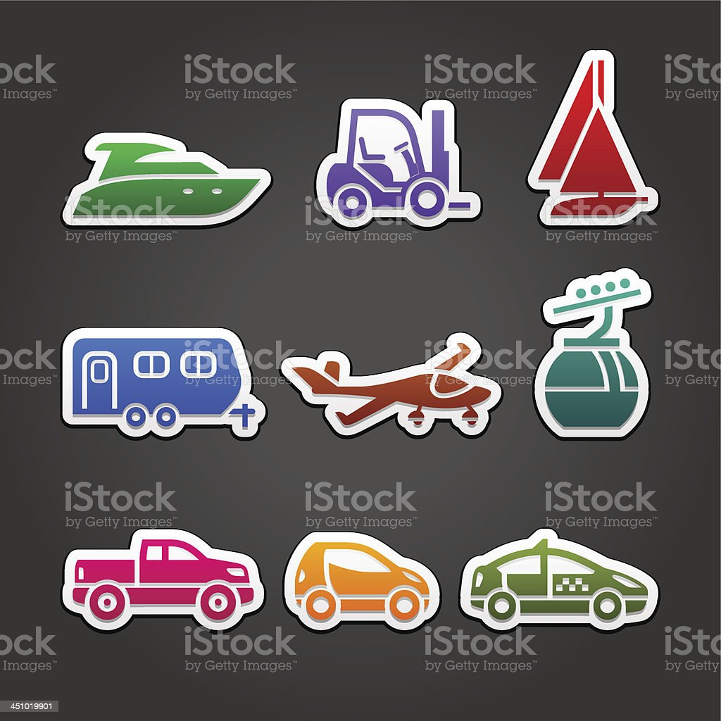 Set colored stickers transport, simple icons on the gray blackground royalty-free stock vector art