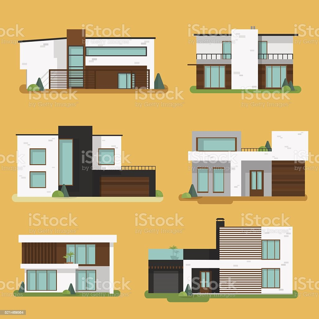 Set Colorful Modern Residential Houses. vector art illustration