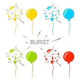 Set Colorful Popped Balloons Isolated