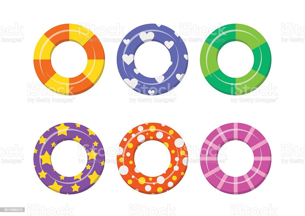 Set colorful swim rings icon isolated on white background. vector art illustration